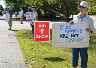 Protesting at the Brunswick Air Show